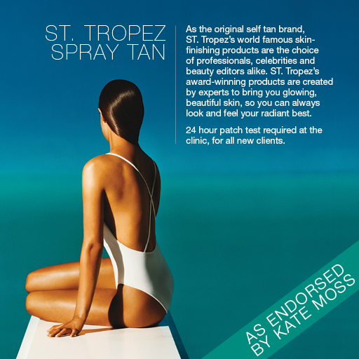 "alt=""ST. Tropez Spray Tan. As the original self tan brand, ST. Tropez's world famous skin-finishing products are the choice of professionals, celebrities and beauty editors alike. ST. Tropez's award-winning products are created by experts to bring you glowing, beautiful skin, so you can always look and feel your radiant best. 24 hour patch test required at the clinic, for all new clients. As endorsed by Kate Moss."""